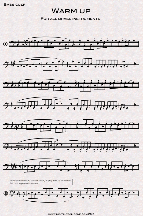 free sheet music for trumpet warm up
