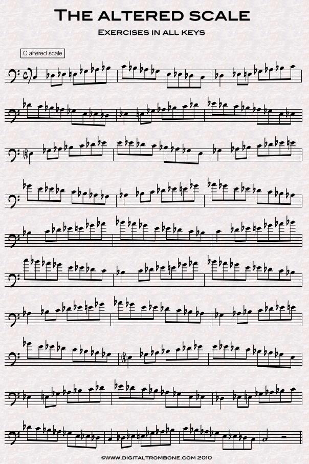 Trombone lesson: Altered scale in all keys | DigitalTrombone