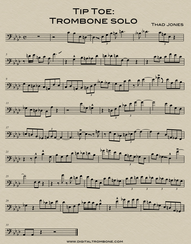 Trombone lesson: Tip Toe Trombone Solo | DigitalTrombone