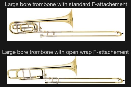 Large bore trombone with F attachement guide to small bore vs large bore trombone digitaltrombone
